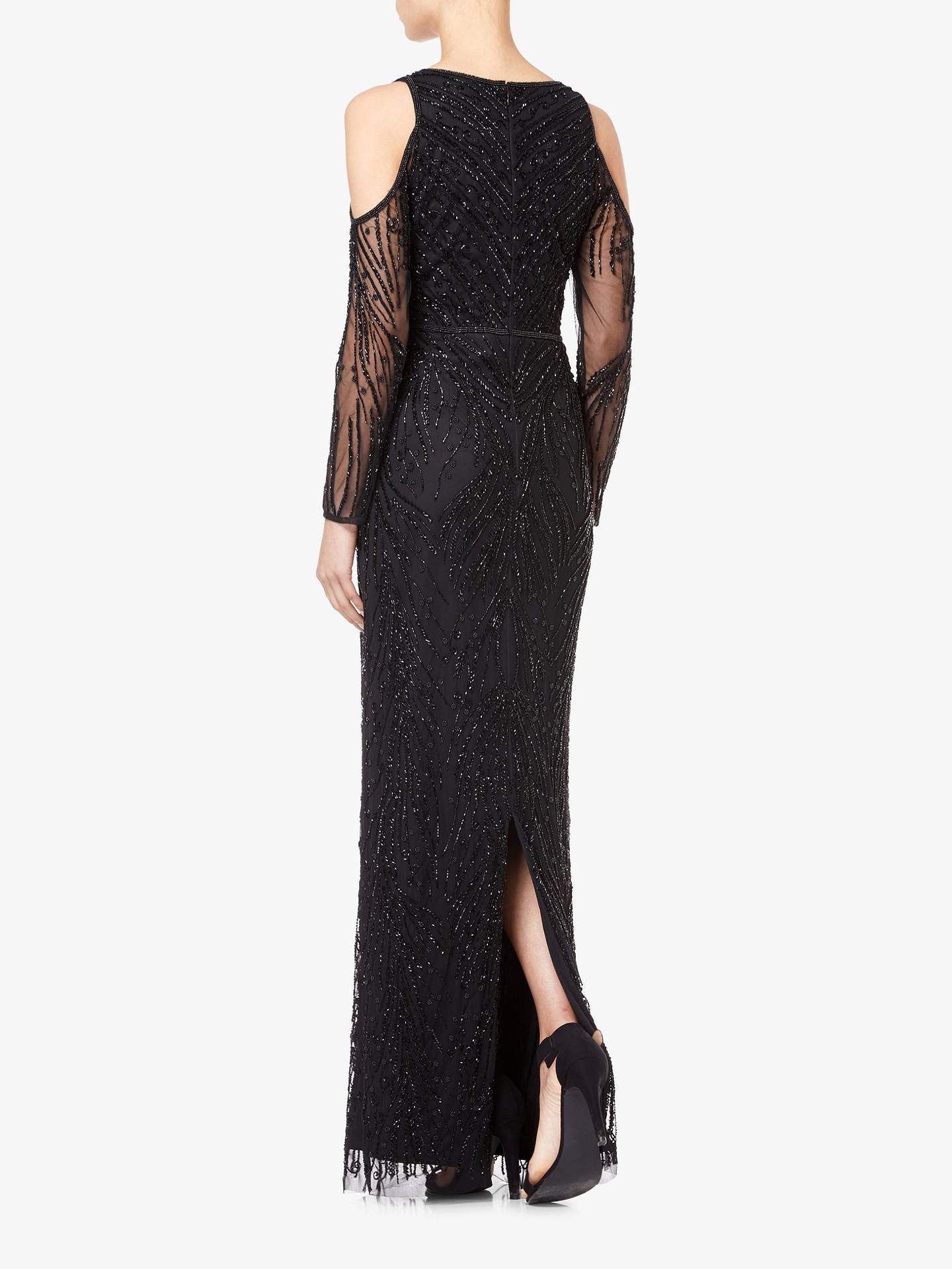 BuyAdrianna Papell Beaded Cold Shoulder Long Dress, Black, 10 Online at johnlewis.com