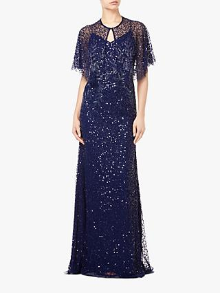 Adrianna Papell Long Beaded Tulle Overlay Dress, Midnight