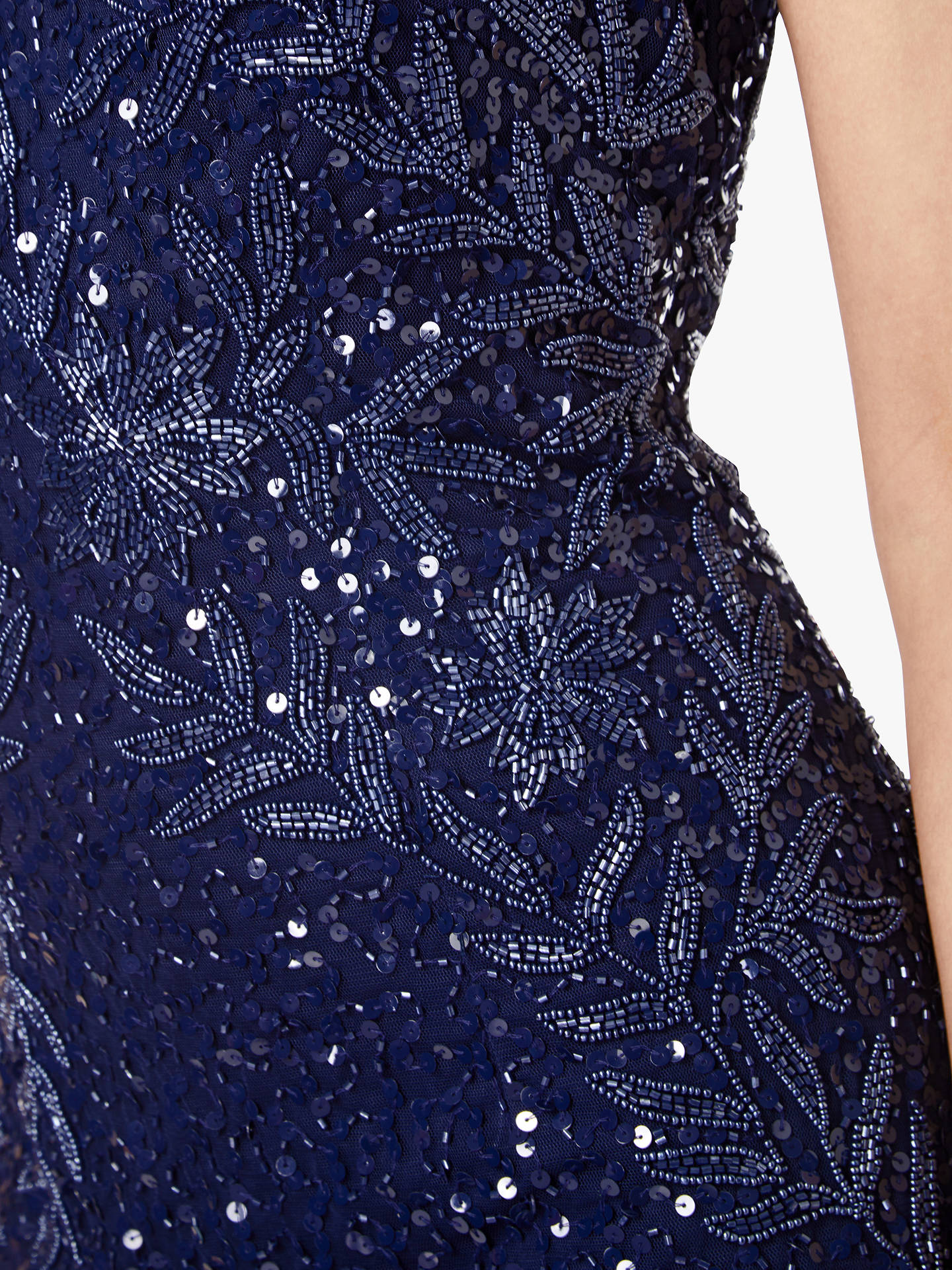 Buy Adrianna Papell Long Beaded Tulle Overlay Dress, Midnight, 10 Online at johnlewis.com