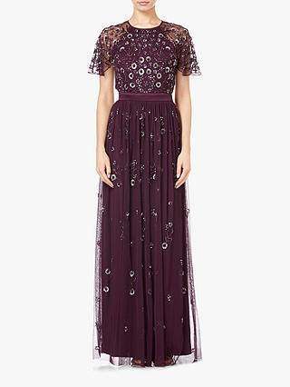 Buy Adrianna Papell Long Beaded Short Sleeve Dress, Night Plum, 10 Online at johnlewis.com