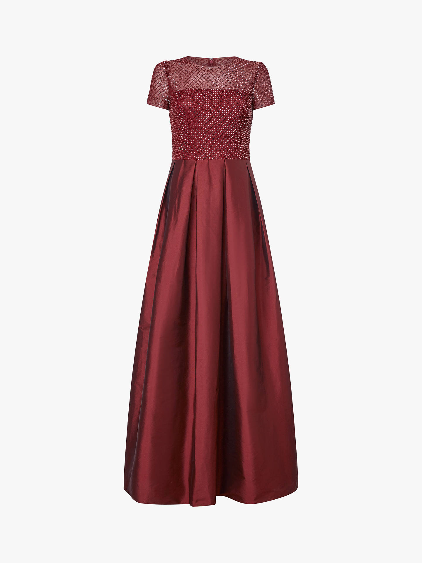 BuyAdrianna Papell Beaded Bodice Long Dress, Burgundy, 8 Online at johnlewis.com