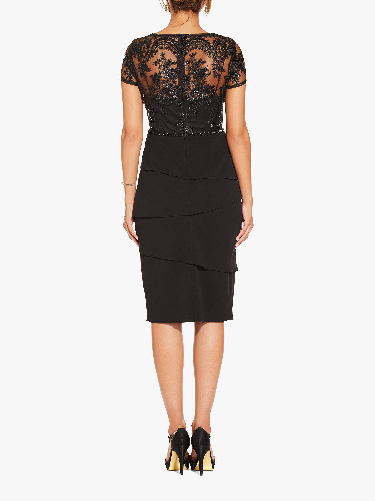 BuyAdrianna Papell Short Sequin Layered Dress, Black, 8 Online at johnlewis.com