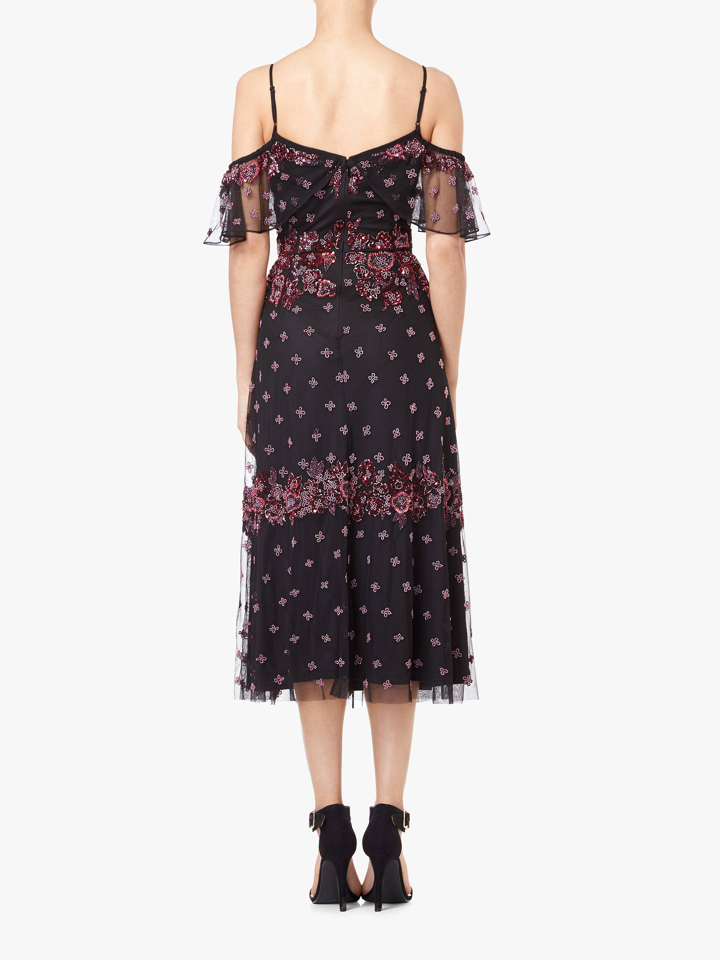 BuyAdrianna Papell Drop Shoulder Beaded Midi Dress, Black/Multi, 8 Online at johnlewis.com