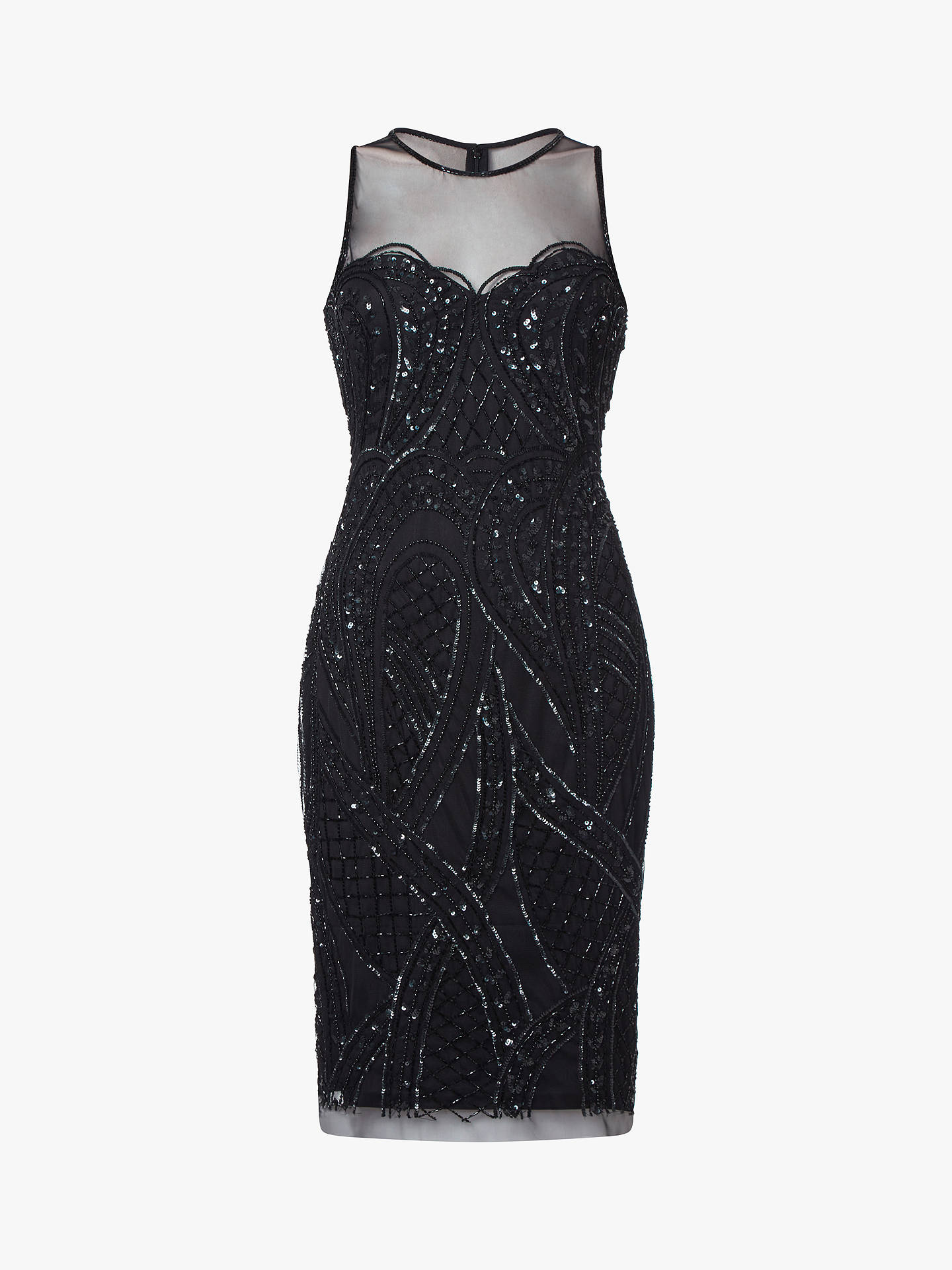 BuyAdrianna Papell Sheer Neckline Beaded Cocktail Dress, Black, 8 Online at johnlewis.com