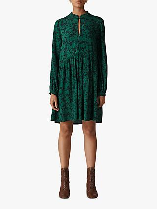 Whistles Deco Floral Print Dress, Green/Multi