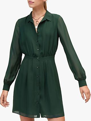 Warehouse Chiffon Shirt Dress, Black