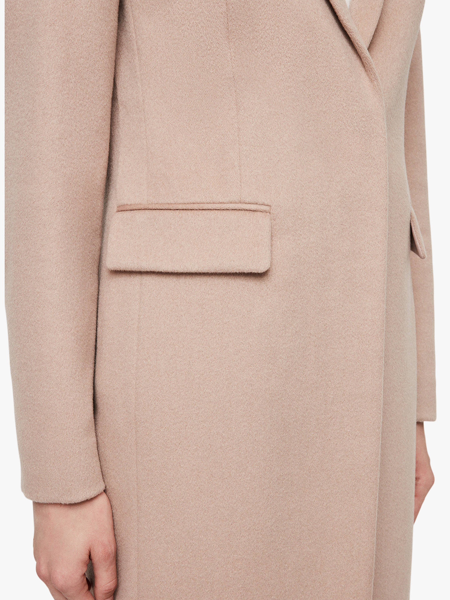 Buy AllSaints Indra Wool Blend Coat, Dusty Pink, 12 Online at johnlewis.com