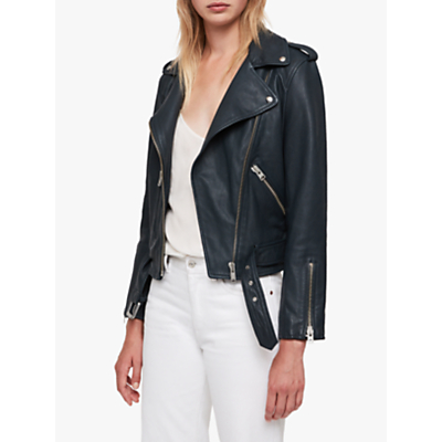 AllSaints Balfern Leather Biker Jacket, Midnight Blue