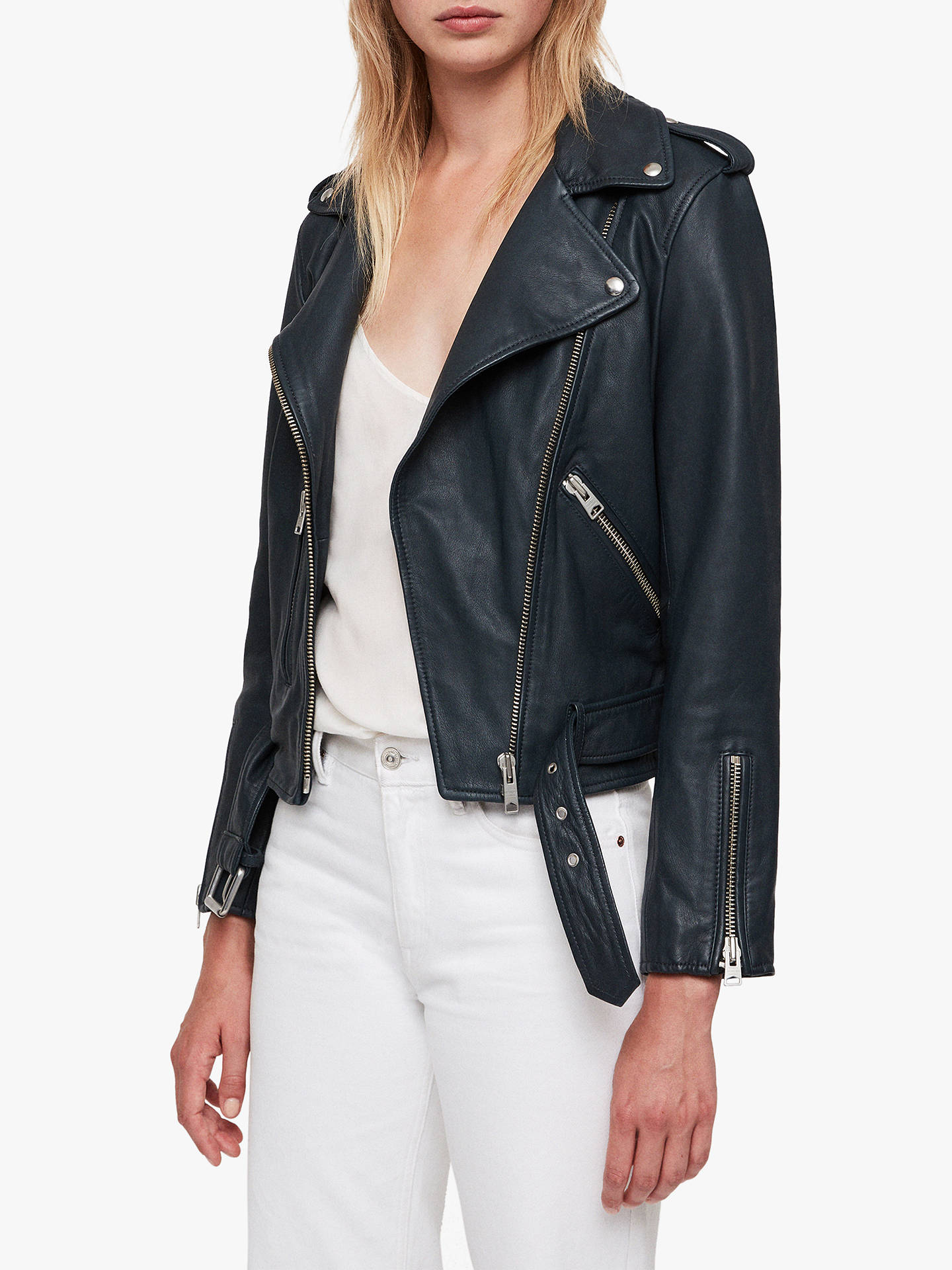 BuyAllSaints Balfern Leather Biker Jacket, Midnight Blue, 6 Online at johnlewis.com