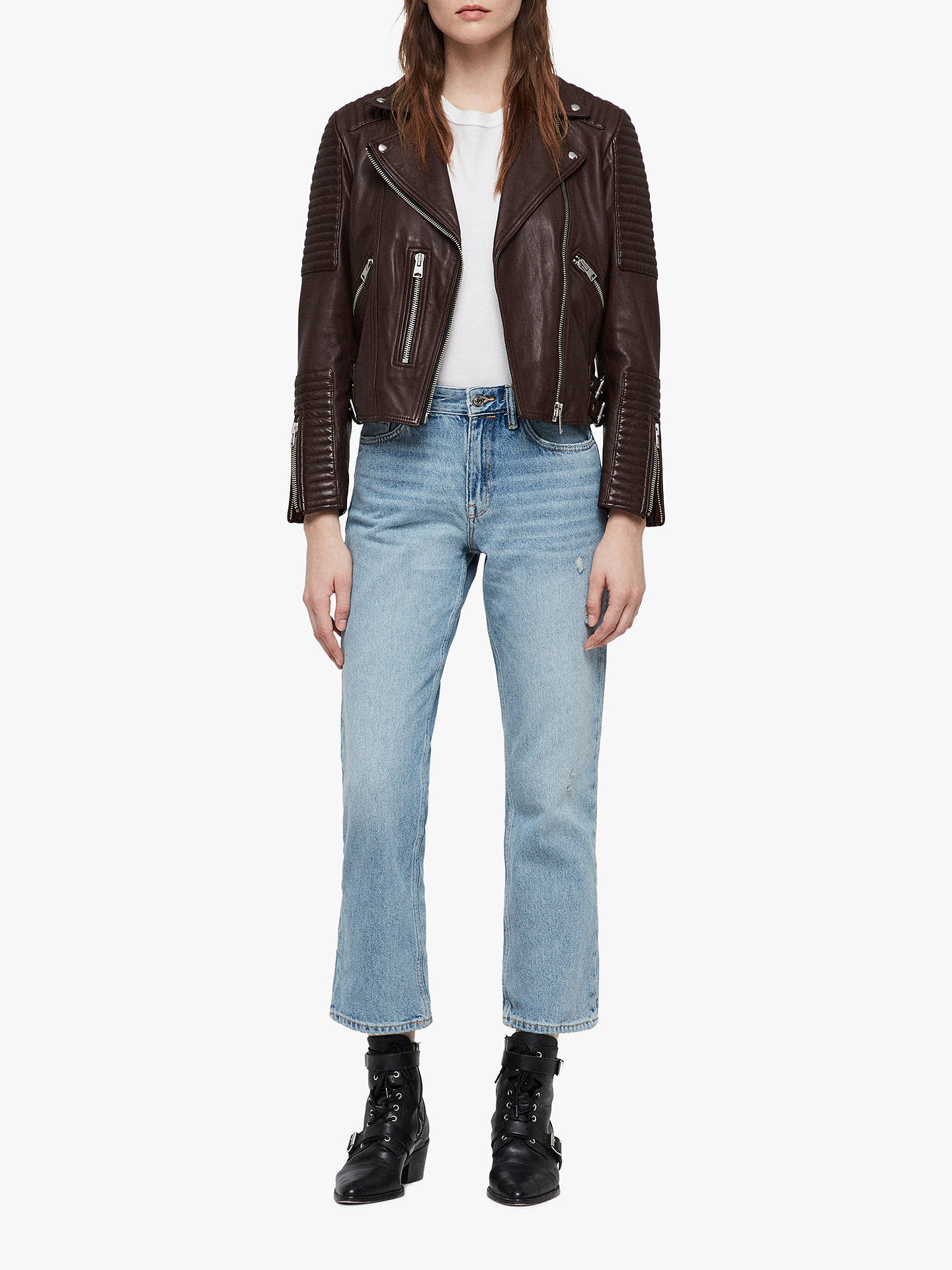 Buy AllSaints Estella Leather Biker Jacket, Bordeaux Red, 10 Online at johnlewis.com
