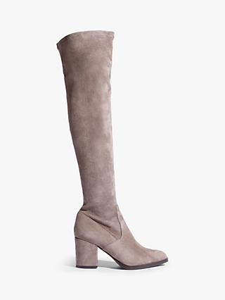 Karen Millen Suede Block Heel Over The Knee Boots