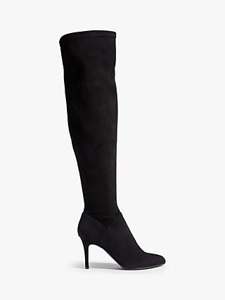 Karen Millen Suede Stiletto Heel Over The Knee Boots, Black