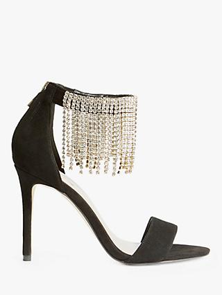 Karen Millen Embellished Fringe Sandals Black Leather