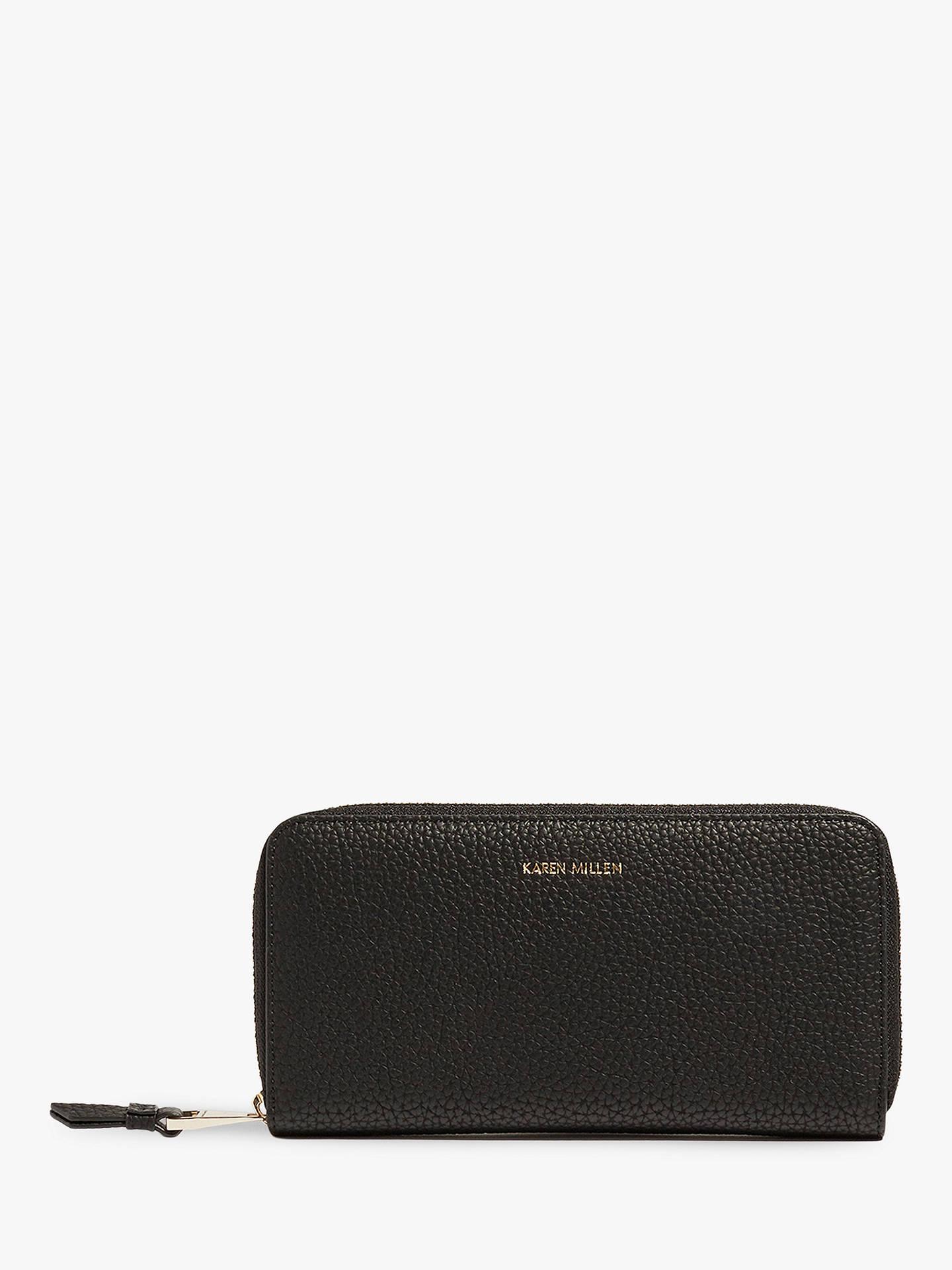 a437bd8fbe1 Buy Karen Millen Textured Zip Around Purse, Black Online at johnlewis.com  ...