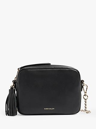 Karen Millen Tassel Leather Cross Body Bag Black