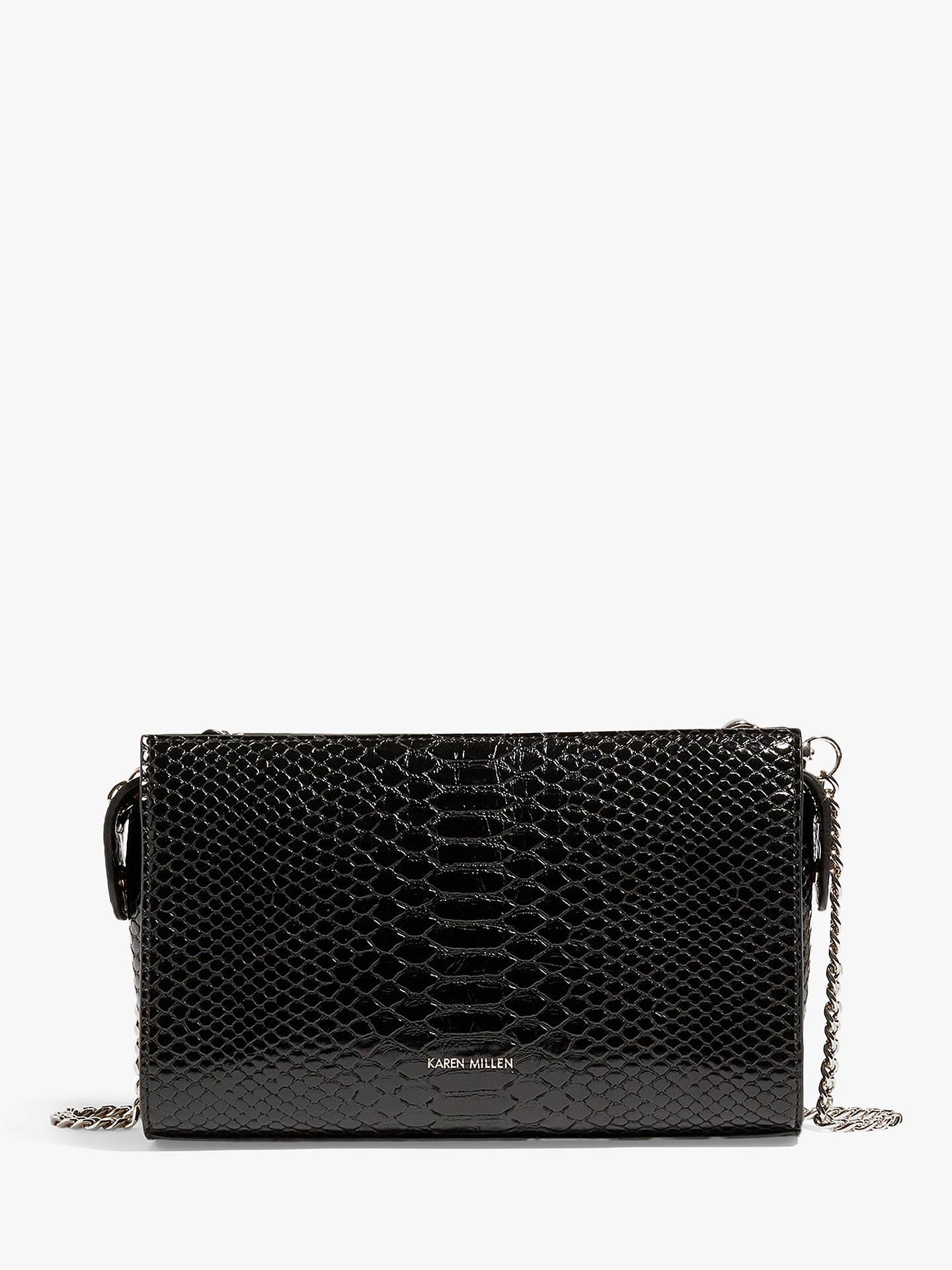 Karen Millen Faux Snakeskin Crossbody Bag, Black