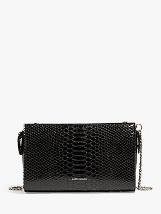 3d6d881152 Karen Millen Faux Snakeskin Crossbody Bag, Black