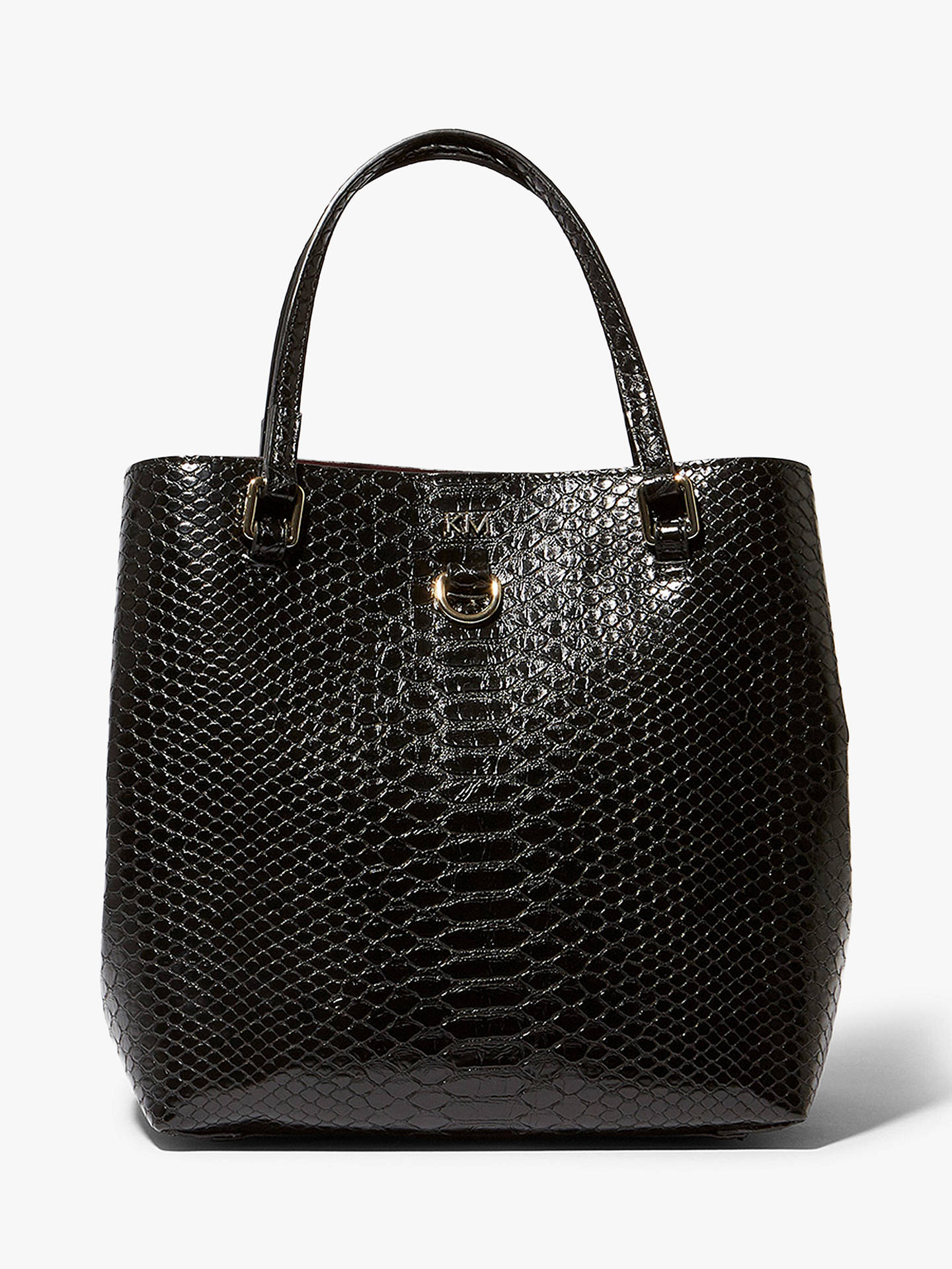 c69312a7695 Buy Karen Millen Snakeskin Shoulder Bag, Black Online at johnlewis.com ...