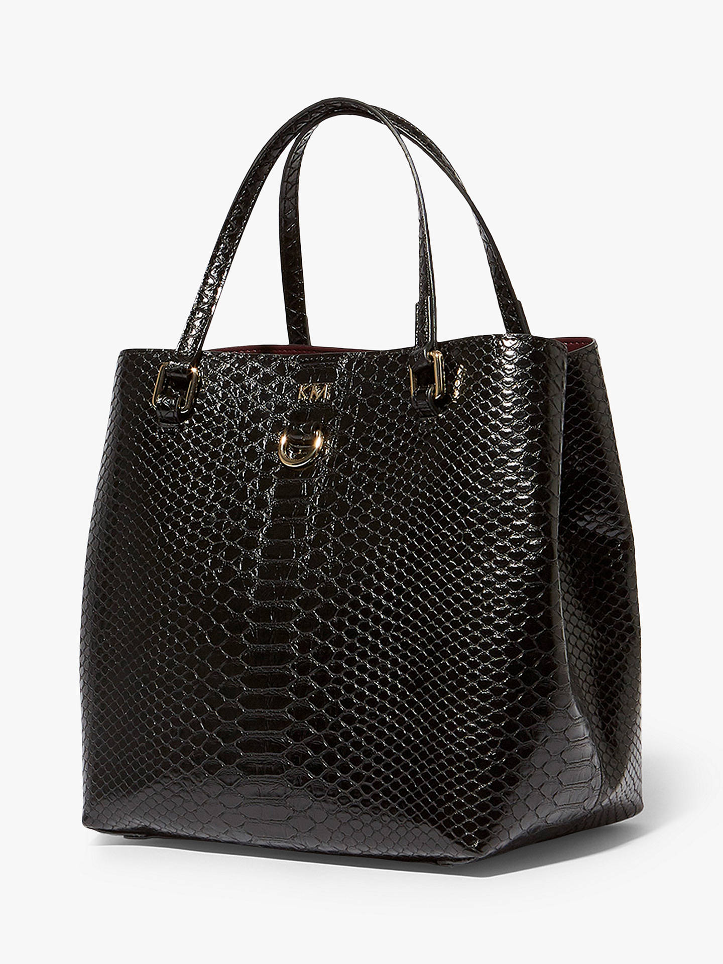 9009e7ac5df ... Buy Karen Millen Snakeskin Shoulder Bag, Black Online at johnlewis.com  ...