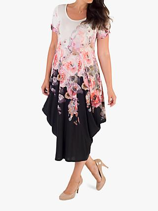 Chesca Bouquet Floral Drape Dress, Ivory/Black