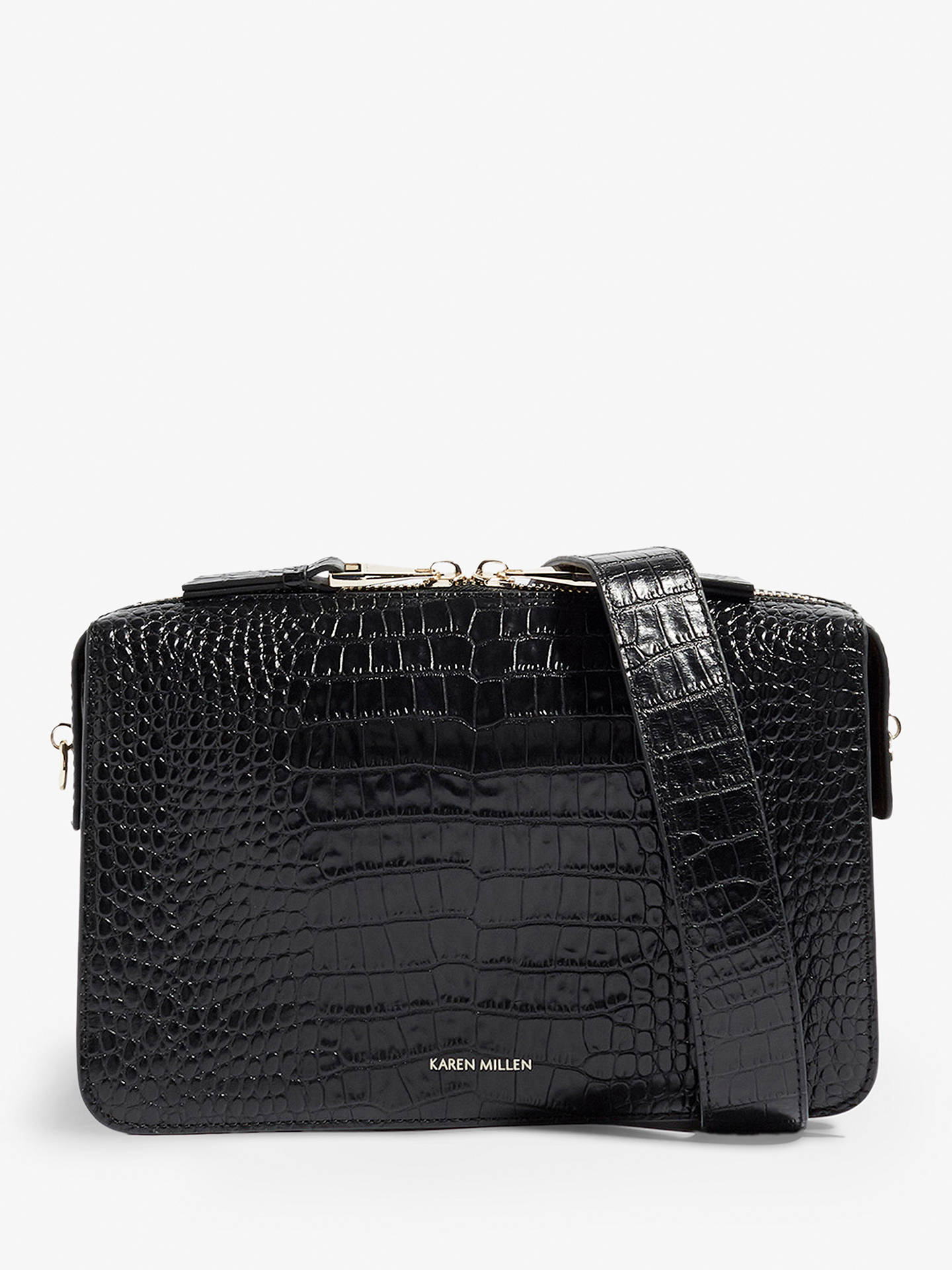 cb09b1b25ca Buy Karen Millen Croc Leather Shoulder Bag, Black Online at johnlewis.com  ...