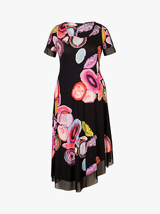 Buy Chesca Asymmetric Abstract Print Jersey Dress, Black/Multi, 12-14 Online at johnlewis.com