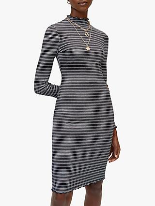 Warehouse Stripe Ribbed Dress, Black