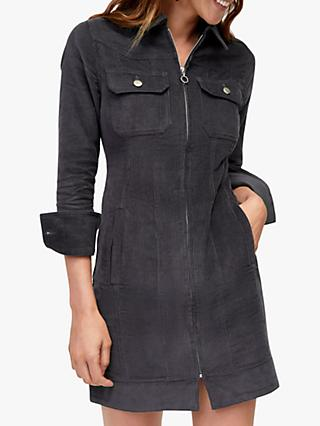 Warehouse Cord Western Dress, Dark Grey