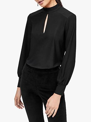 Warehouse Slinky Cut Out Top, Black