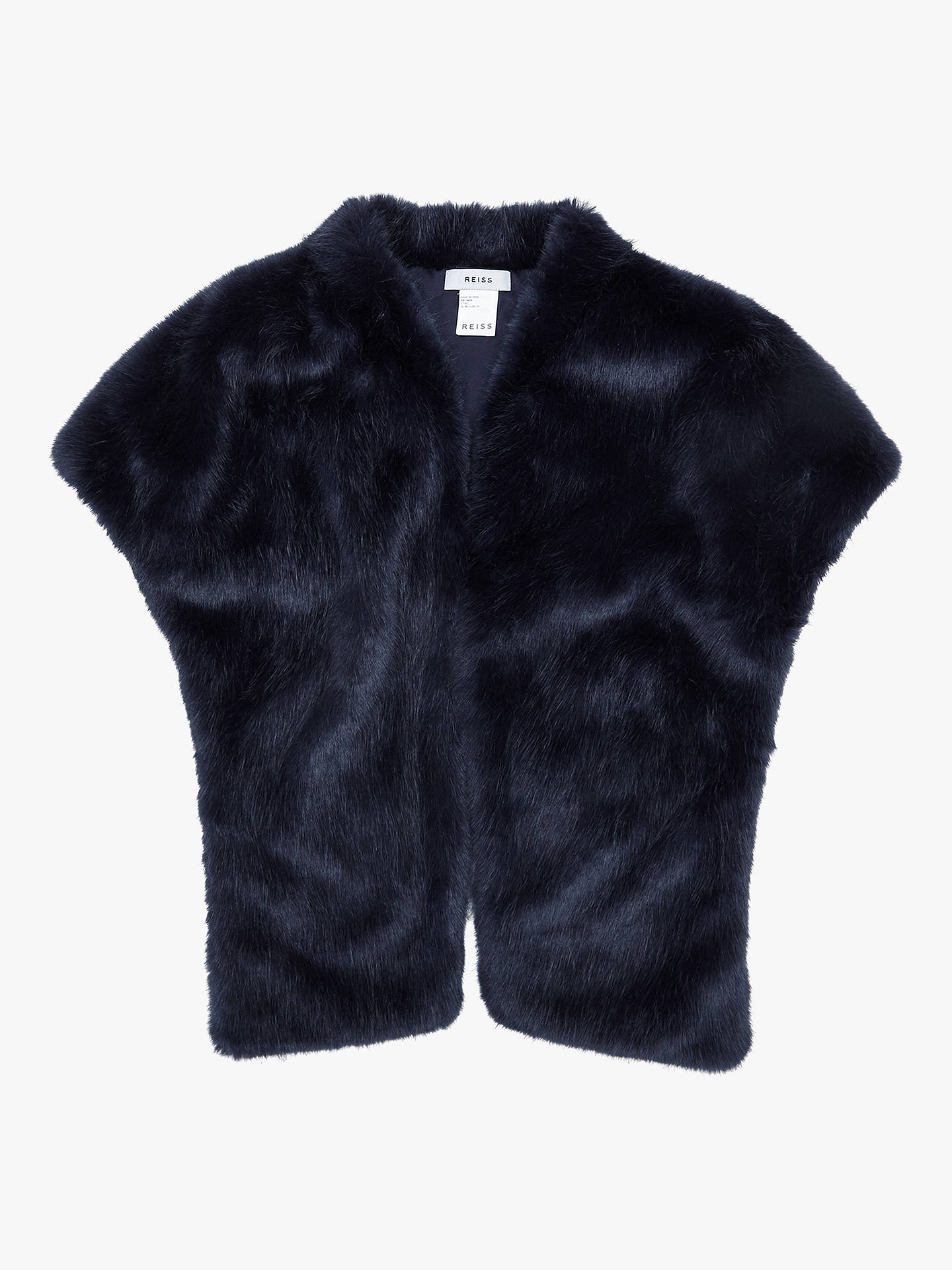 Buy Reiss Ethel Faux Fur Stole, Navy, One Size Online at johnlewis.com