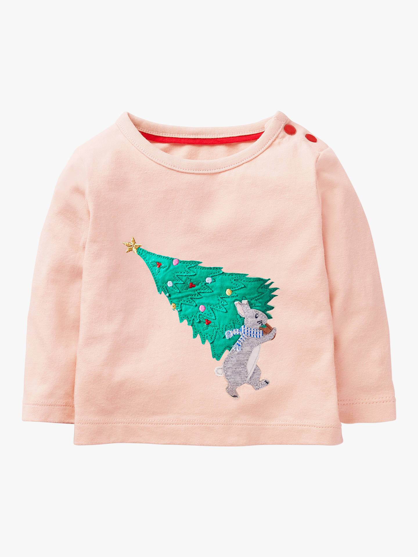 205dff9a3cfee Buy Mini Boden Baby Festive Christmas Tree Appliqué T-Shirt, Provence Dusty  Pink, ...