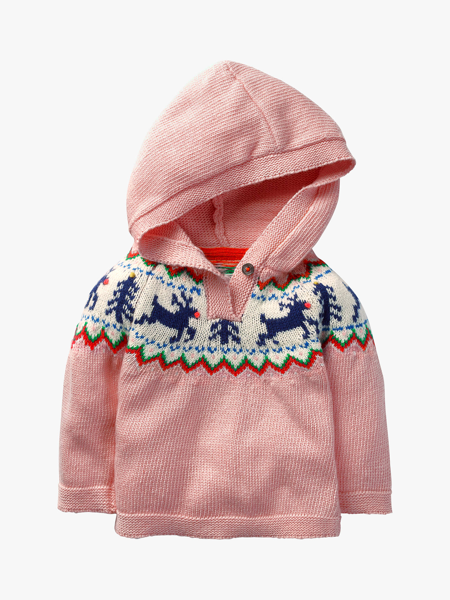 Mini Boden Baby Reindeer Fairisle Knitted Hoodie Vintage Pink At