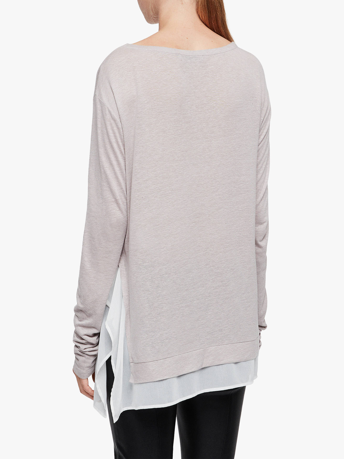 BuyAllSaints Miro Long Sleeve T-Shirt, Ash Grey, L Online at johnlewis.com
