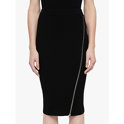 AllSaints Anouk Zip Pencil Skirt, Black