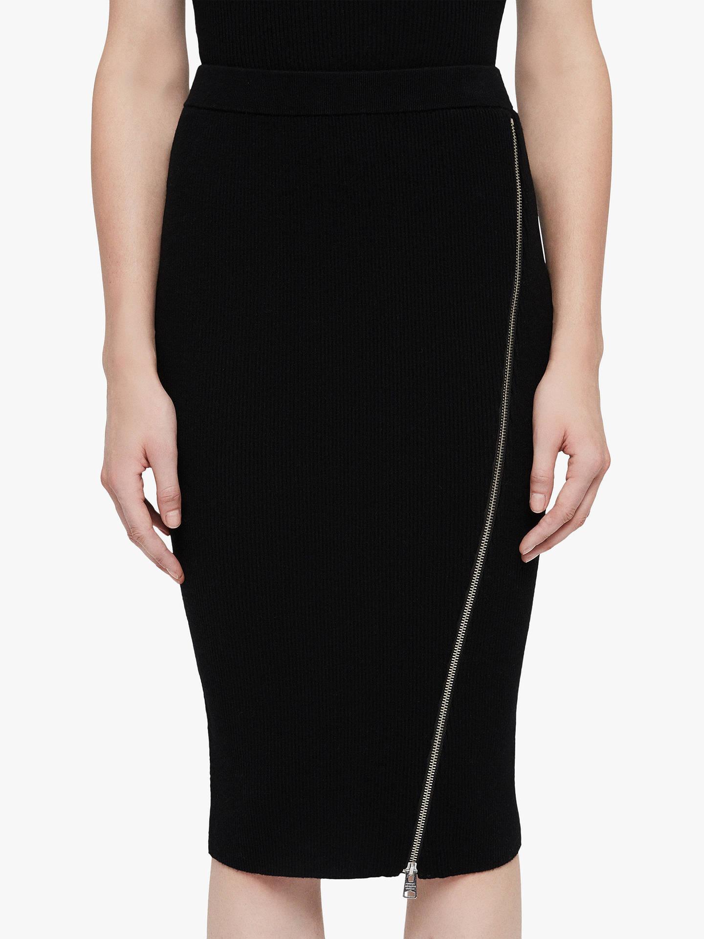 9a71a4c99 Buy AllSaints Anouk Zip Pencil Skirt, Black, L Online at johnlewis.com ...