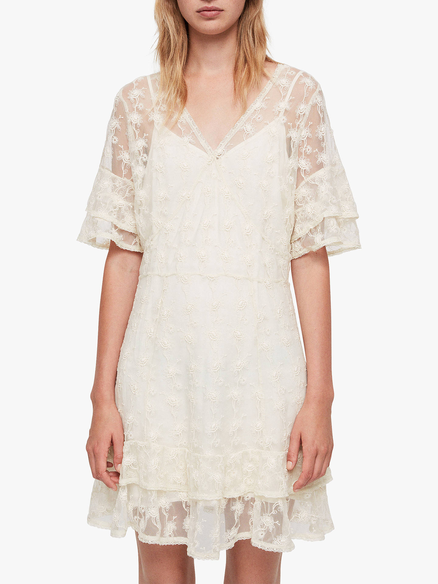 Buy AllSaints Lula Nisha Dress, Oyster, 10 Online at johnlewis.com