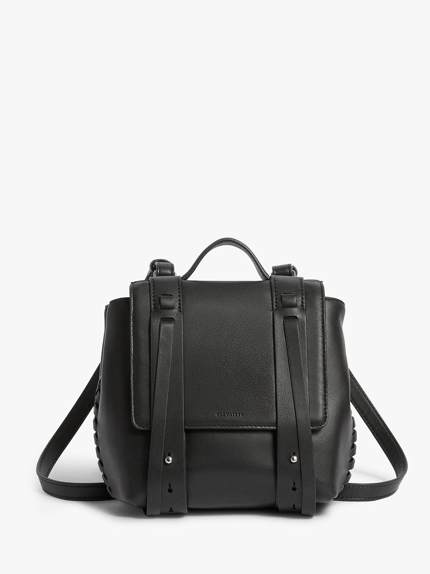 2c0d1992855 BuyAllSaints Fin Mini Leather Backpack, Black Online at johnlewis.com ...