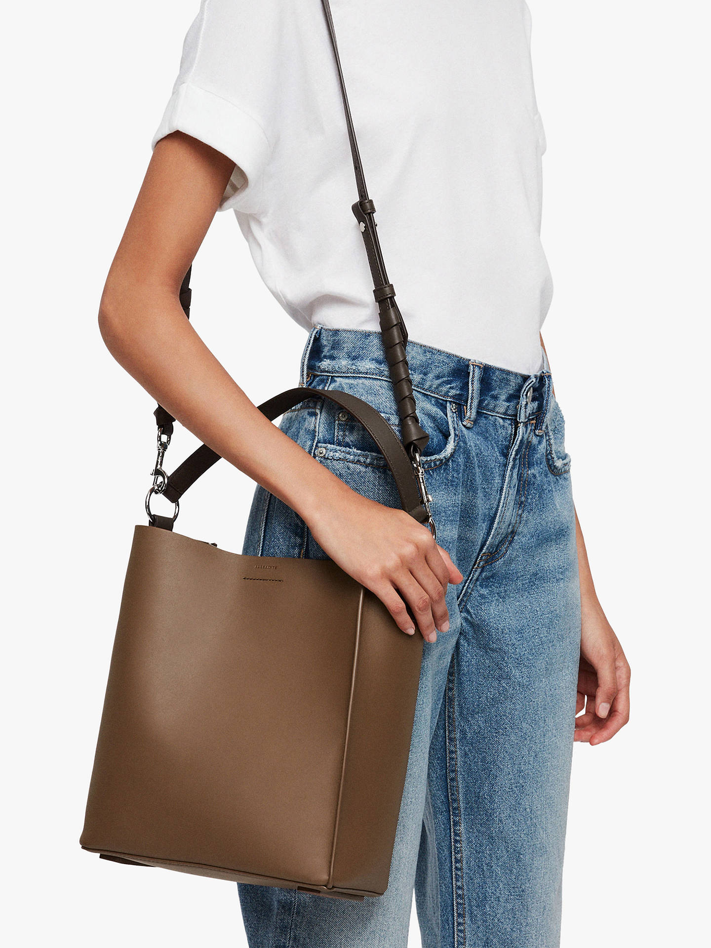 a62bed9eabad4 ... Buy AllSaints Voltaire North South Leather Tote Bag, Luggage Chocolate  Online at johnlewis.com ...