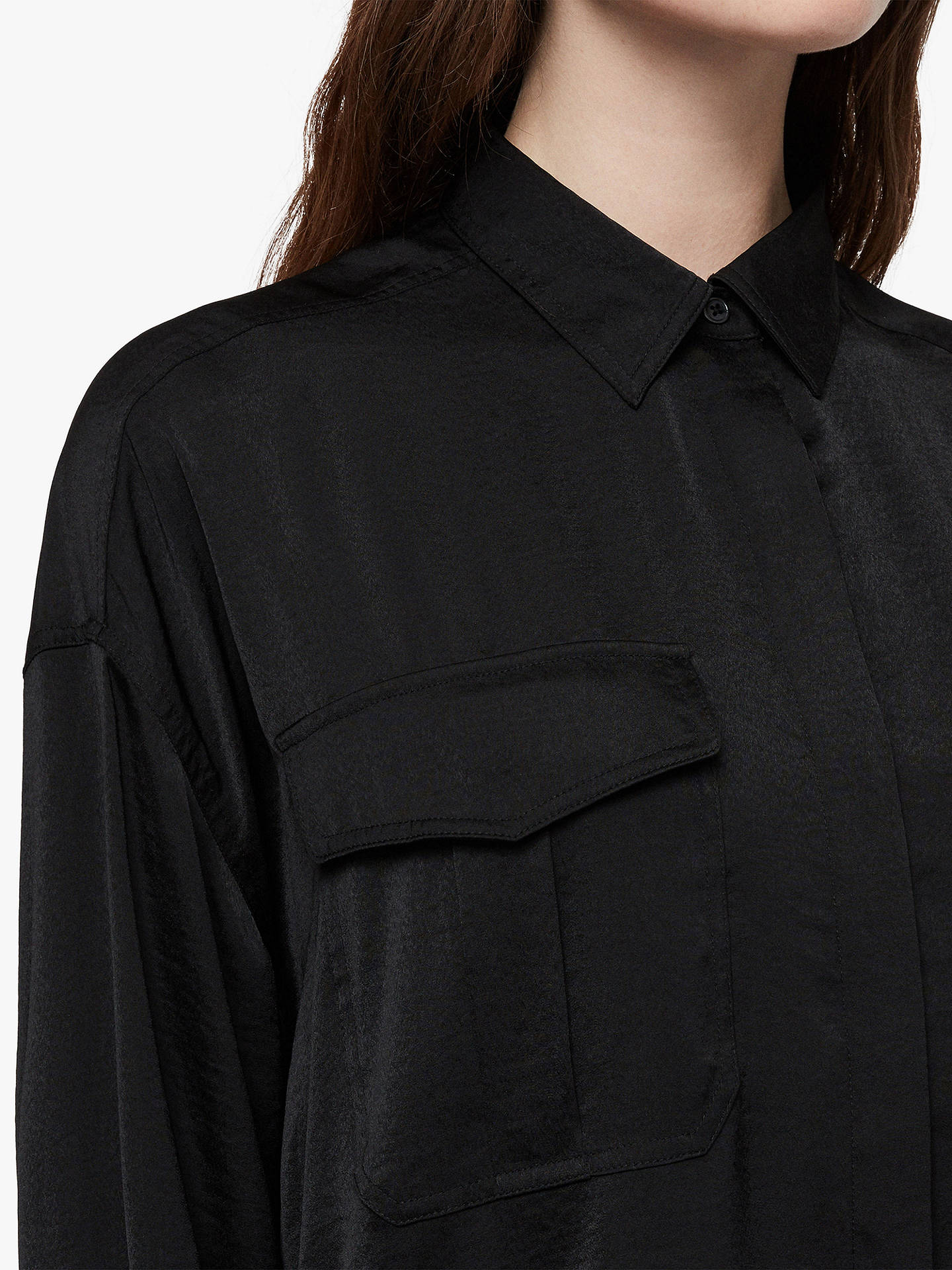 Buy AllSaints Rylee Satin Shirt, Black, S Online at johnlewis.com
