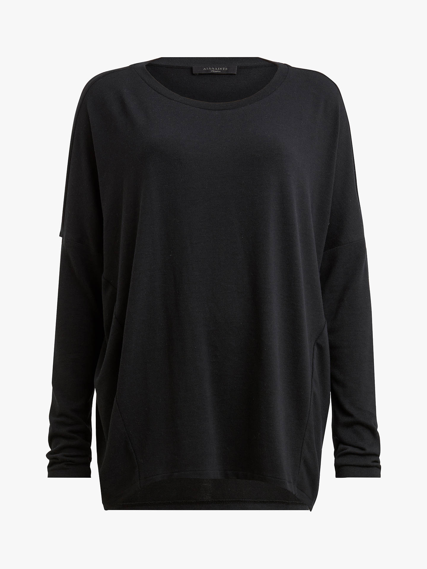 BuyAllSaints Wave Long Sleeve T-Shirt, Black, S Online at johnlewis.com