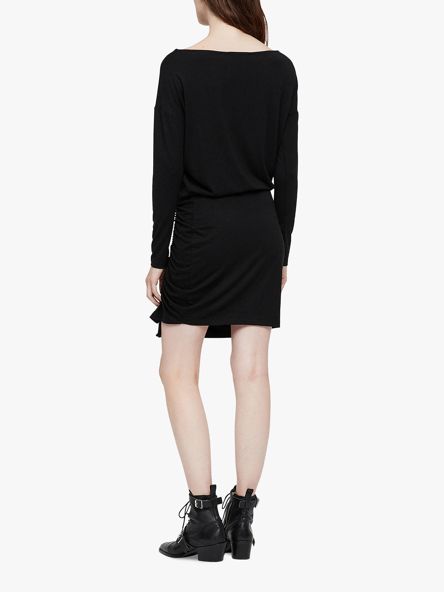 Buy AllSaints Tavi Ruched Long Sleeve Dress, Black, L Online at johnlewis.com