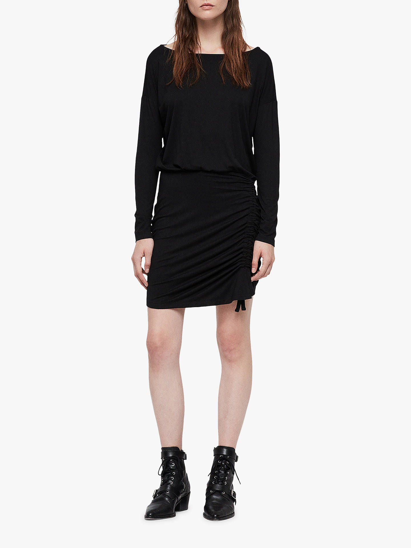 BuyAllSaints Tavi Ruched Long Sleeve Dress, Black, L Online at johnlewis.com