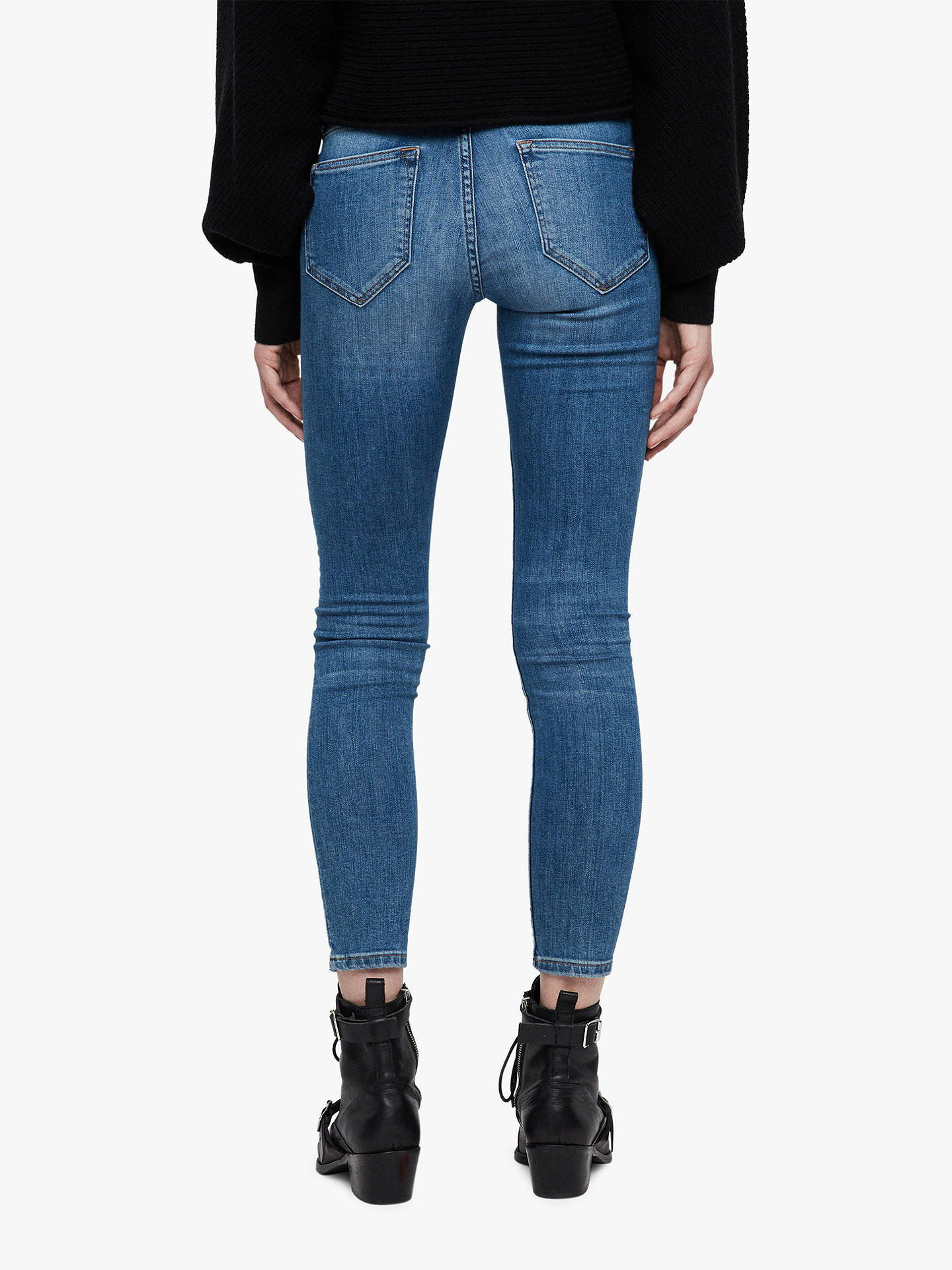 BuyAllSaints Mast Destroys Ankle Skinny Jeans, Mid Indigo Blue, 28 Online at johnlewis.com