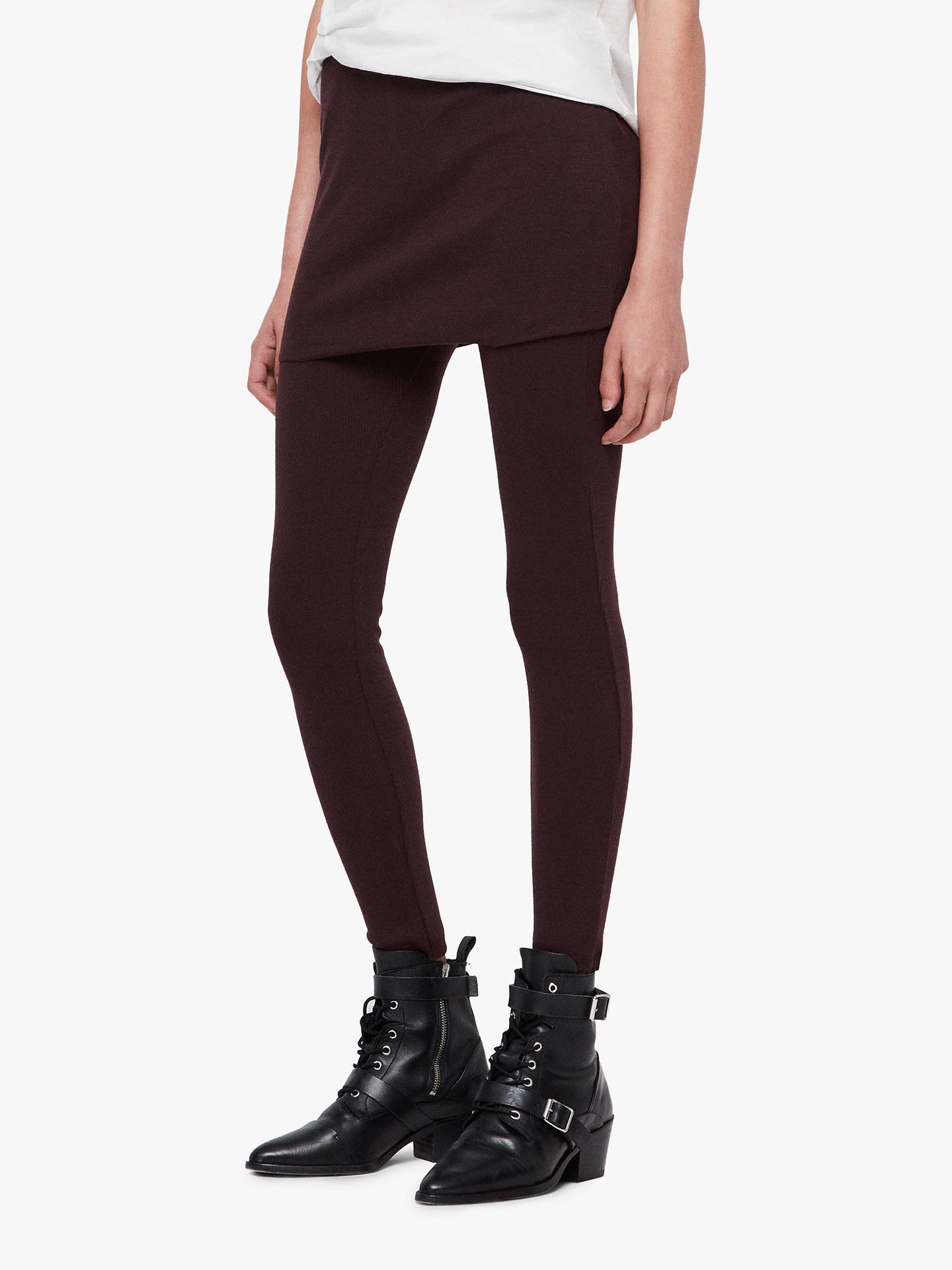 BuyAllSaints Raffi Rib Leggings, Burgundy, XS Online at johnlewis.com