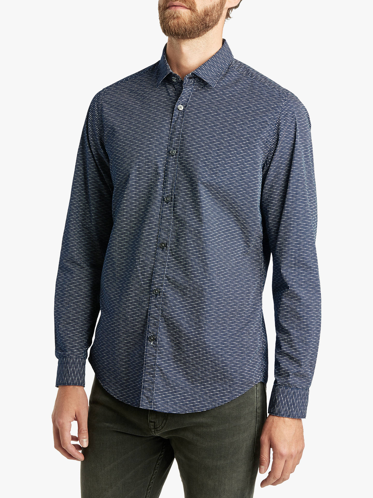 BuyBOSS Base Long Sleeve Shirt, Open Blue, S Online at johnlewis.com