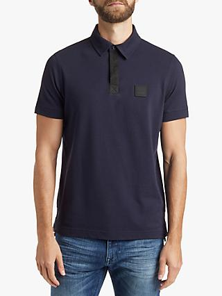 BOSS Cross Grain Short Sleeve Polo Shirt, Dark Blue
