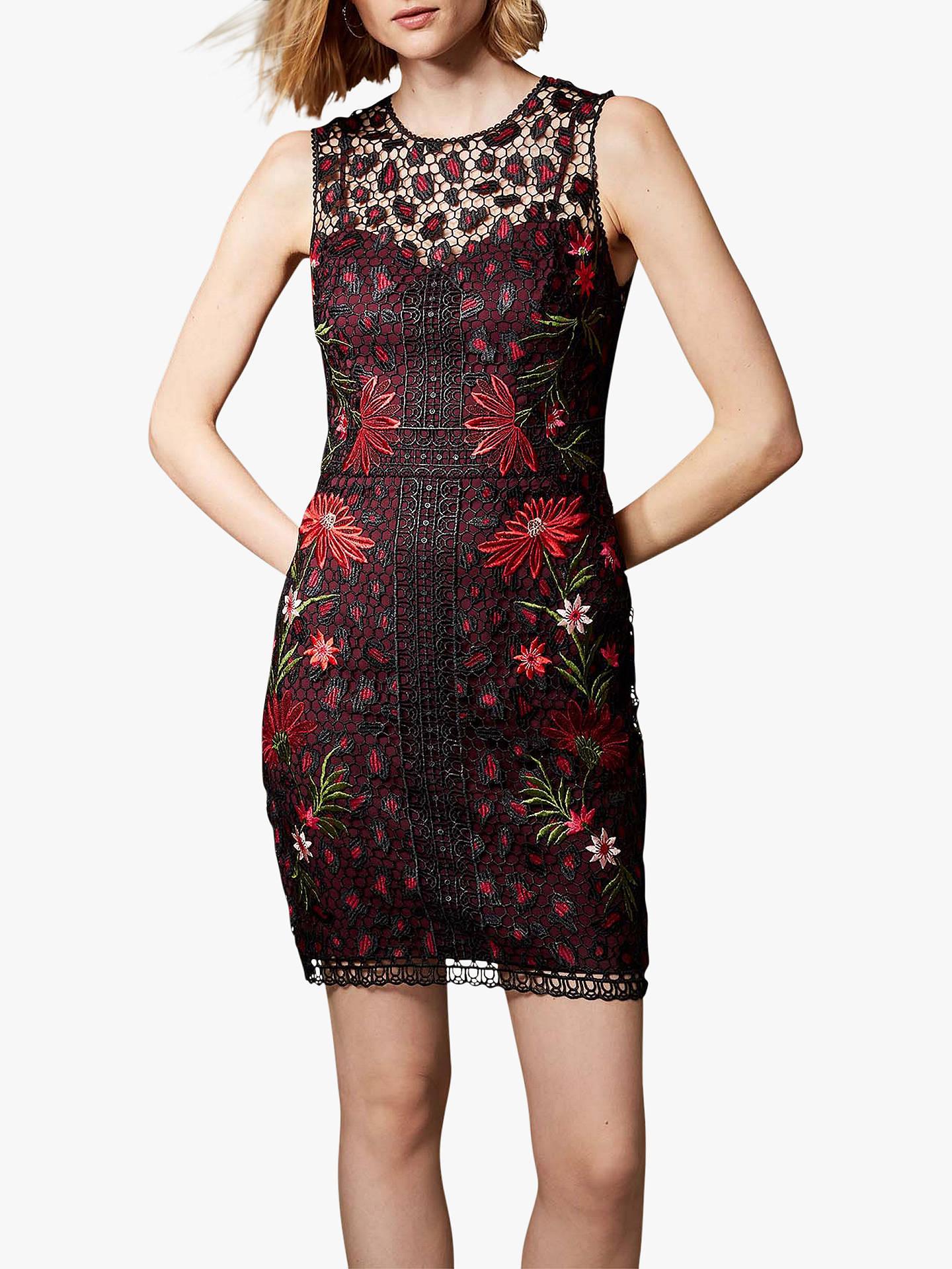792fbac03c4 Buy Karen Millen Embroidered Leopard Floral Print Dress, Black/Multi, 14  Online at ...