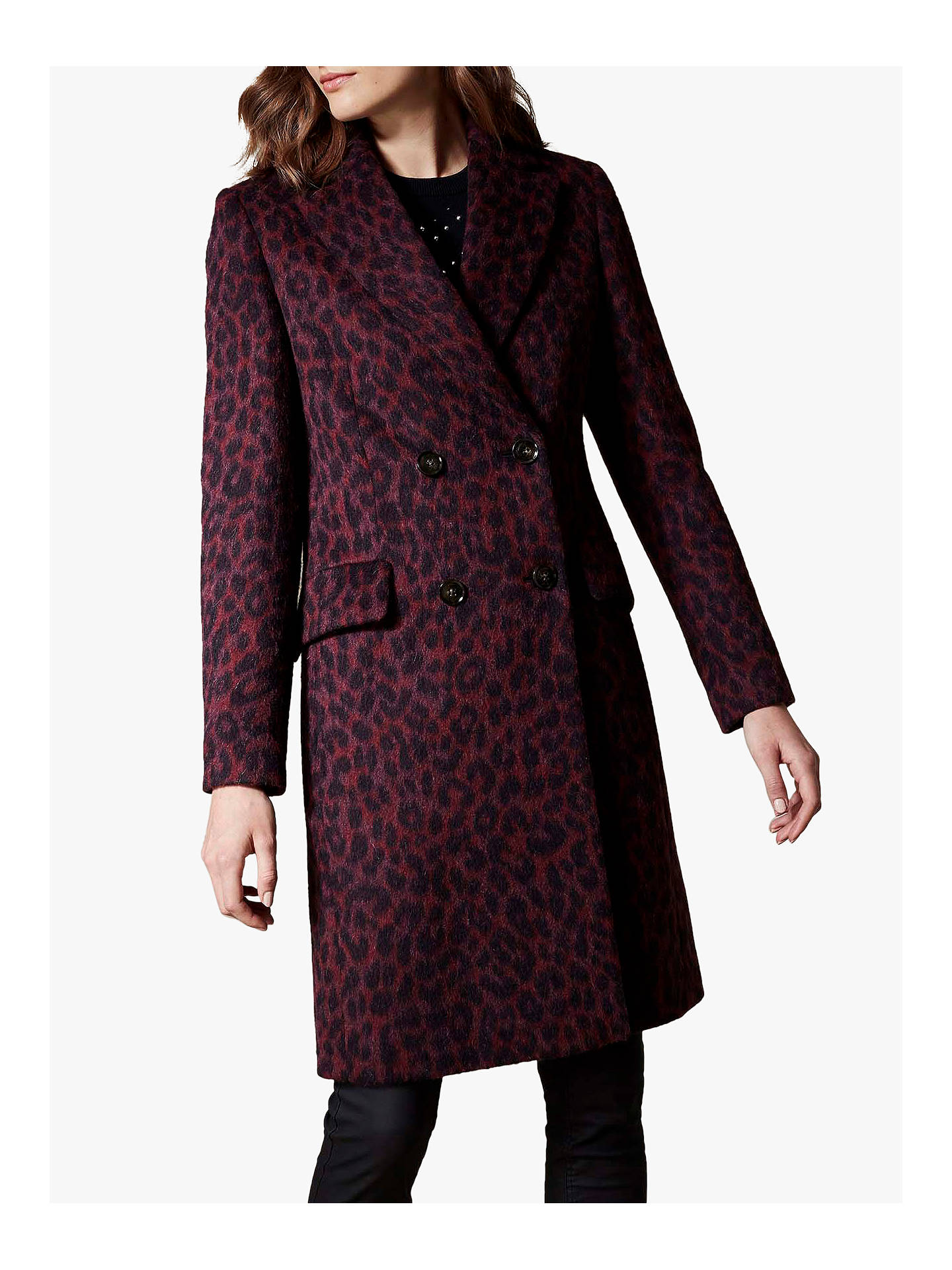 464fd2e70659 Buy Karen Millen Leopard Print Tailored Coat, Red, 6 Online at  johnlewis.com ...