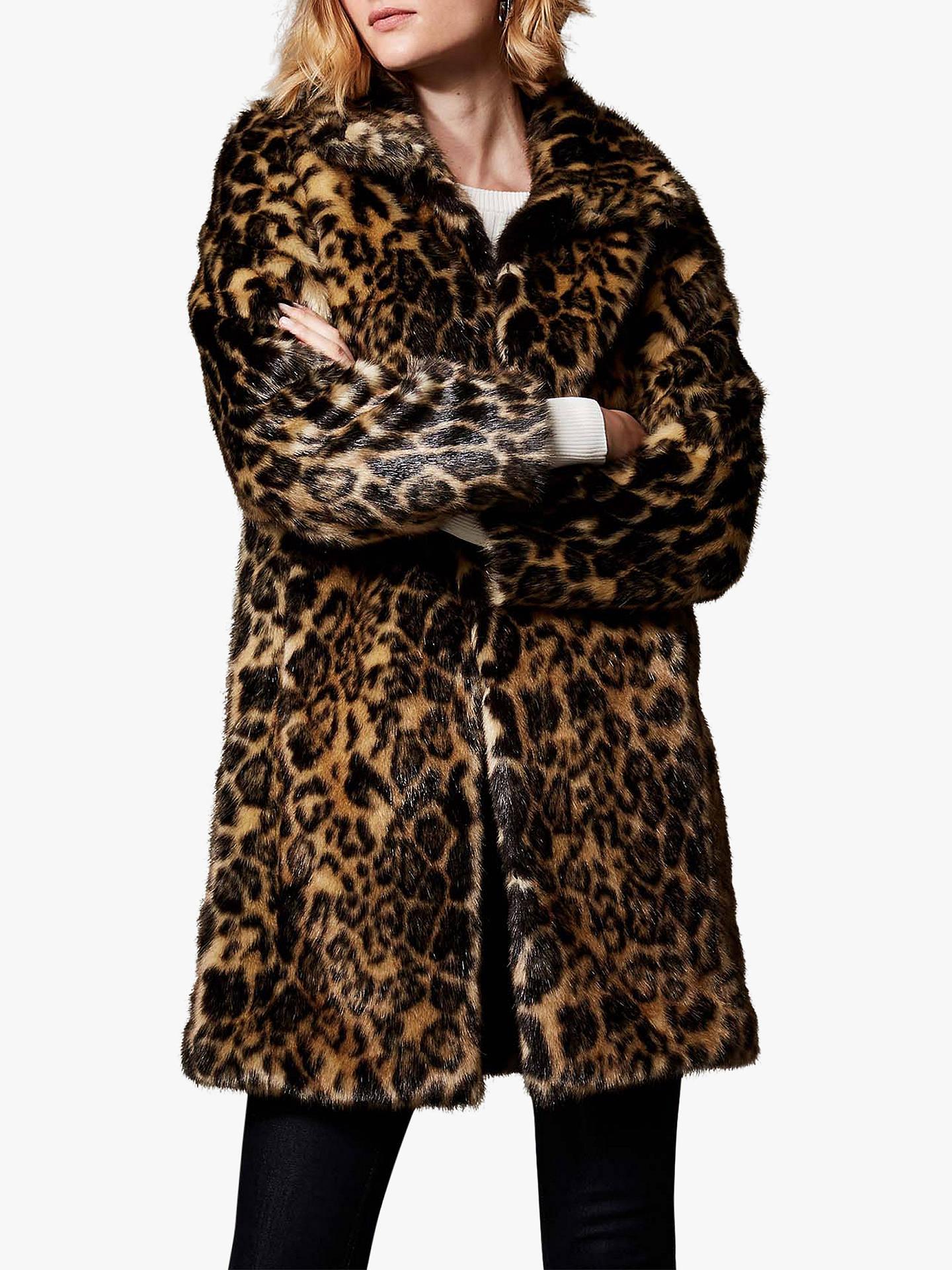 2d47aa40cf15 Buy Karen Millen Longline Animal Print Faux Fur Coat