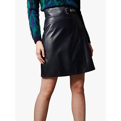 Karen Millen Belted Leather Mini Skirt, Navy